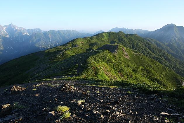 蝶ヶ岳稜線