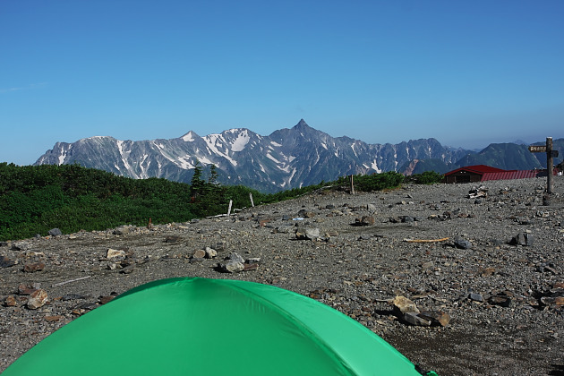 テントから槍ヶ岳